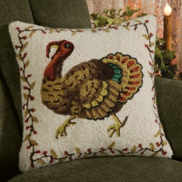 Gobble Turkey Hooked Wool Pillow
