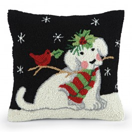 Puppy and Cardinal Hooked Wool Pillow