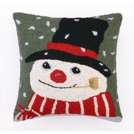 Green Snowman Hooked Wool Pillow