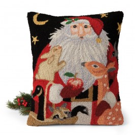 Santa and Forest Friends Hooked Wool Pillow