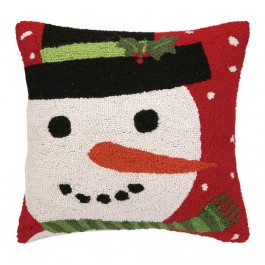 Red Snowman Hooked Wool Pillow