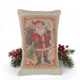 Victorian Santa Burlap Accent Pillow