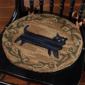 Superb Black Cat Hooked Chair Pad