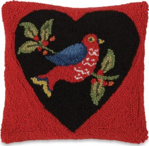 Heart & Bird Hooked Wool Pillow