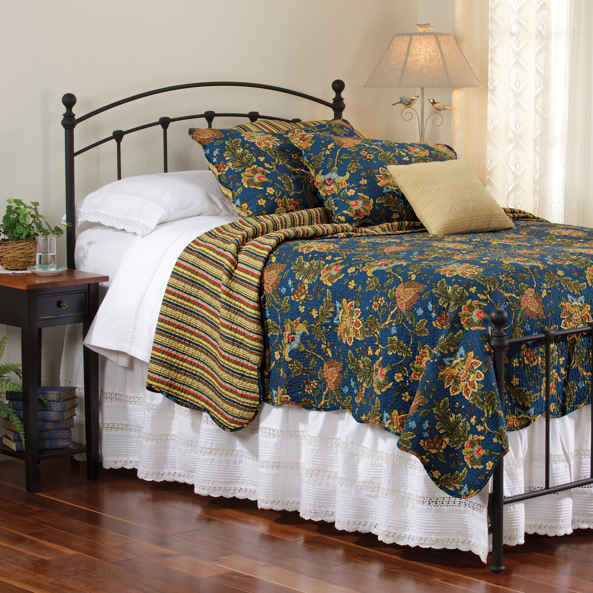 Jacobean Flowers & Stripe Quilt Collection