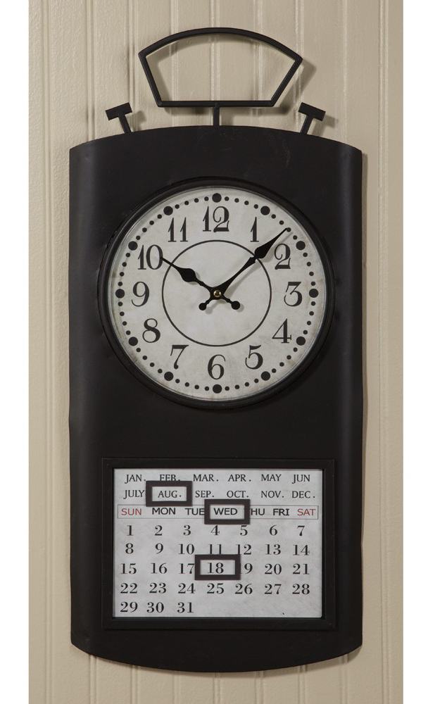Metal Perpetual Calendar Clock (in black)