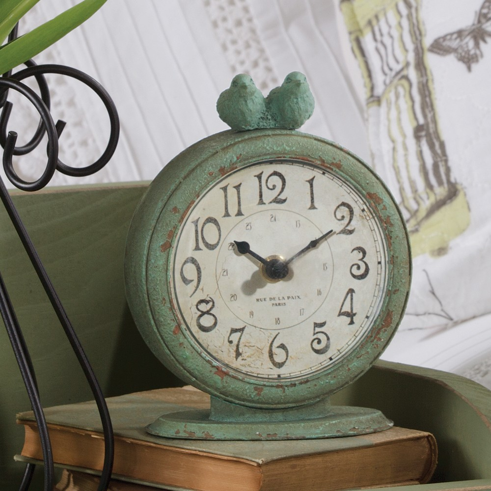 Verdigris Birds Clock