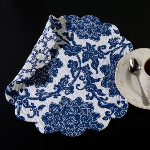 Blue and White Round Placemat