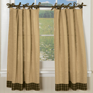 Burlap & Plaid Tie Curtains (Tiers)