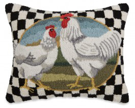 Rooster & Check Hooked Wool Pillow