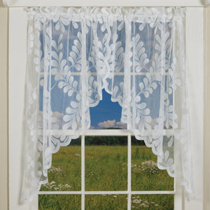 Scalloped Leaf Lace Curtains (Swag)