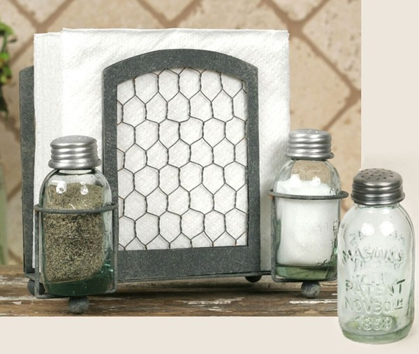 Wire Mason Jar Salt & Pepper Caddy