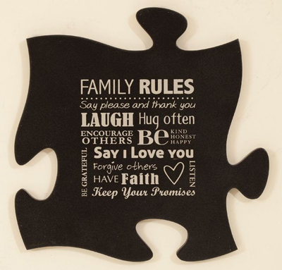 Family Rules Puzzle Piece Wall Plaque