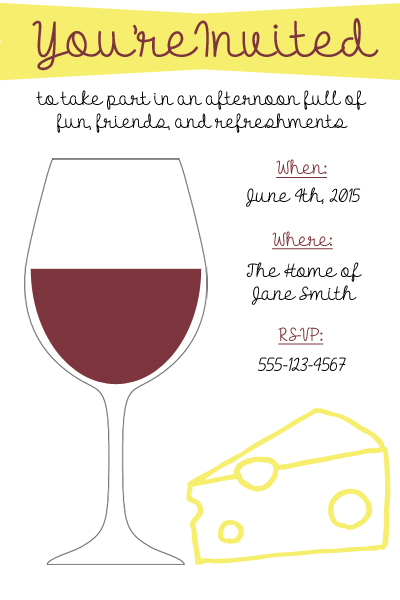 Wine and Cheese Invite example
