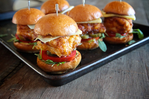 Honey Mustard Chicken Sliders - via Shutterbean