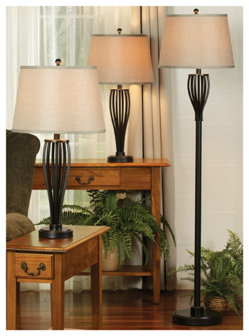 Bronze Spindle Metal Lamps - Set of 3