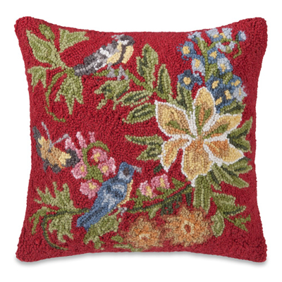 Garden Delight Hooked Wool Pillow in Red