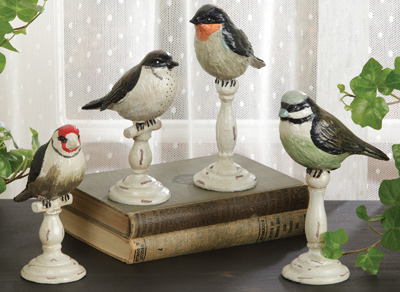 Set of 4 Pedestal Birds