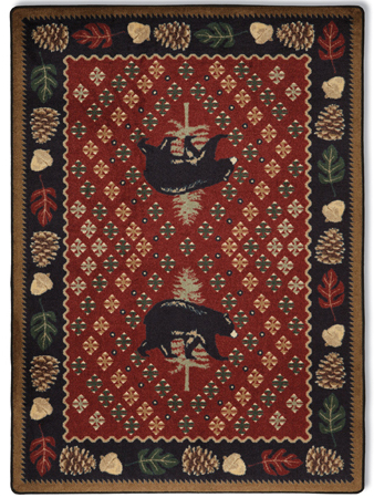 Pinecone Bear Rug in Red