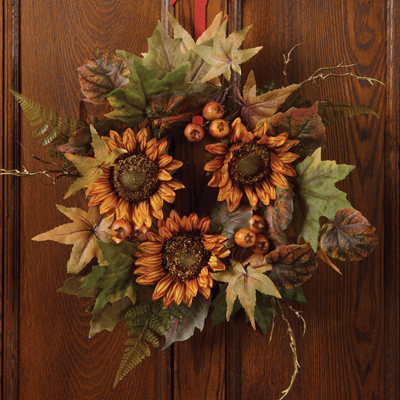 Sunflowers & Leaves Wreath