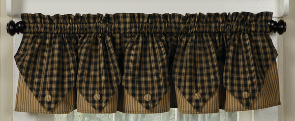 Sturbridge Plaid Button Valance in Black