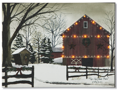 The Christmas Barn Lighted Canvas