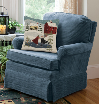 Swivel Upholstered Rocker in Blue