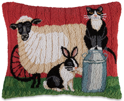 Farm Friends Hooked Wool Pillow