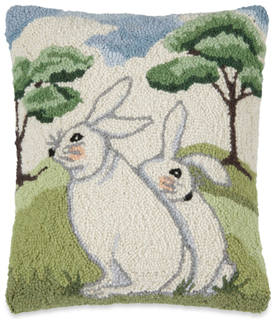 Hillside Bunnies Hooked Wool Pillow