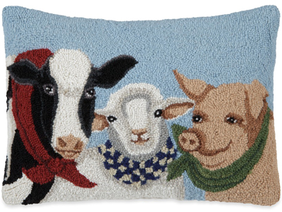 Meet Me At The Fair Hooked Wool Pillow