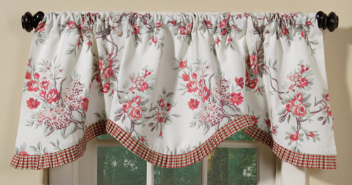 Rose & Check Cornice Valance