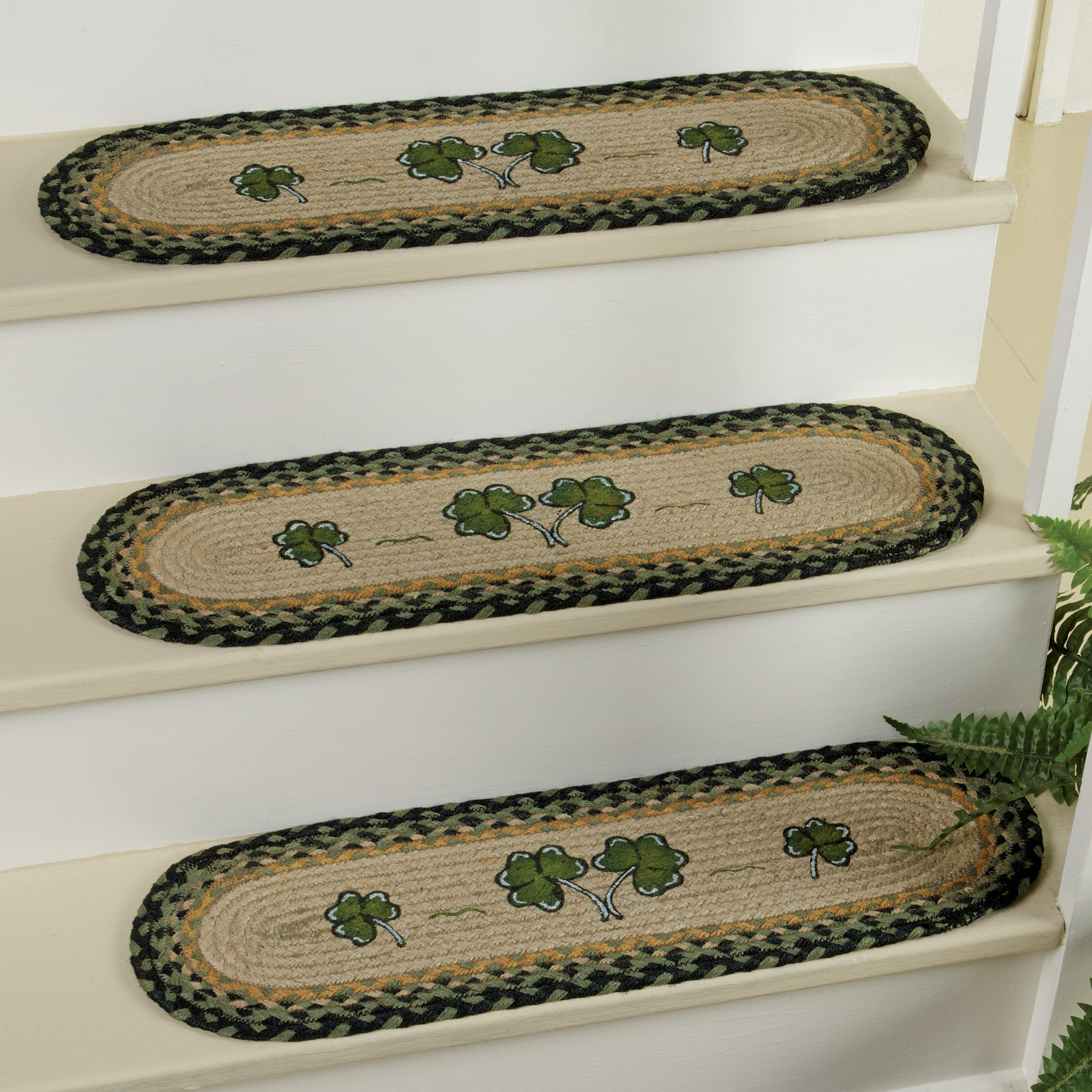 Sheep & Shamrock Braided Jute Stair Tread