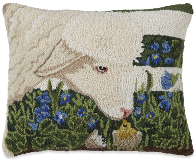 Sheep & Yellow Chick Hooked Wool Pillow