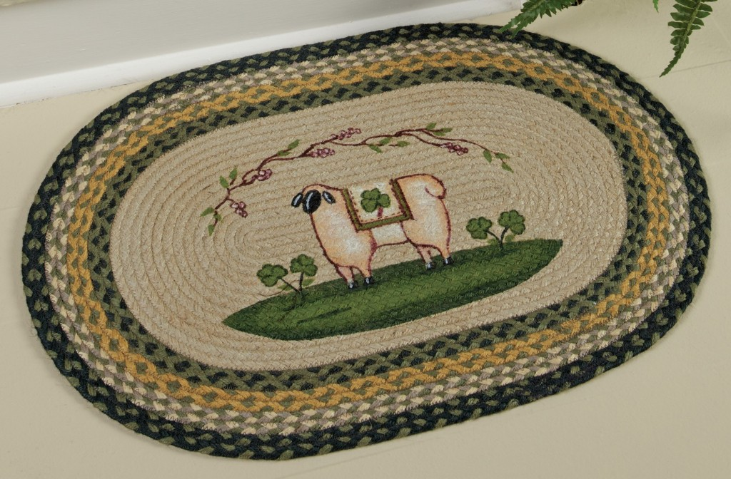 Sheep & Shamrock Braided Jute Rug