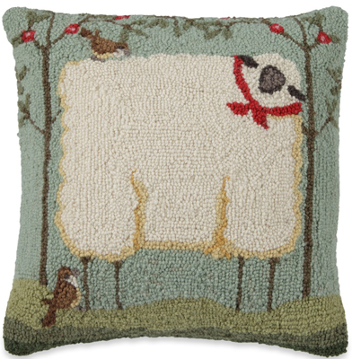 Square Sheep Hooked Wool Pillow