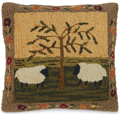 Willow & Sheep Hooked Wool Pillow