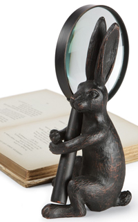 Primitive Iron Hare & Magnifying Glass Sculpture