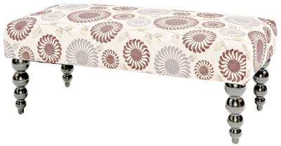 Claire Vintage Upholstered Bench in Purple Flora