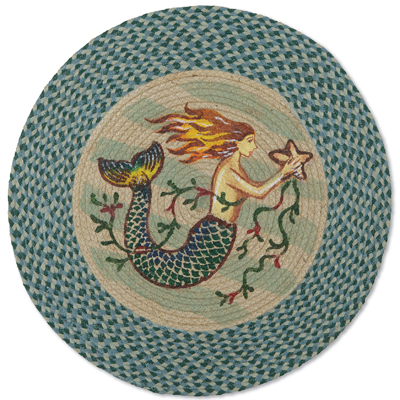 Mermaid Round Jute Braided Rug
