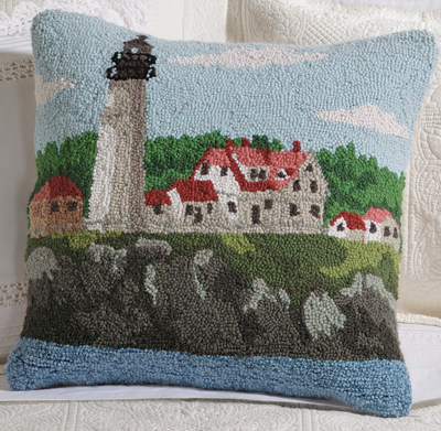 Portland Head Light Hooked Wool Pillow