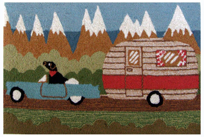 Camping Dog Indoor/Outdoor Rug