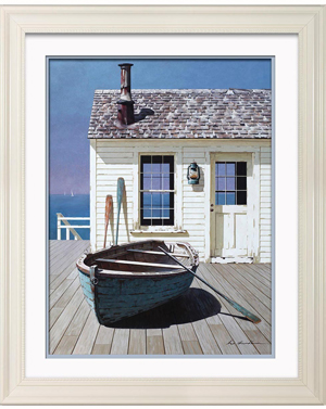 Blue Boat On Deck Print
