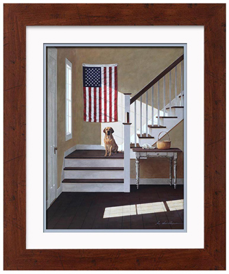 Dog On Stairs with Flag Print