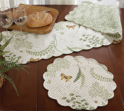 Fern Garden Quilt Placemat and Table Runner