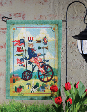 Uncle Sam Patriotic Bike Garden Flag