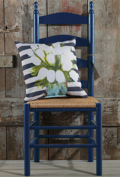 White Tulips Pillow & Ladderback Chair - Navy
