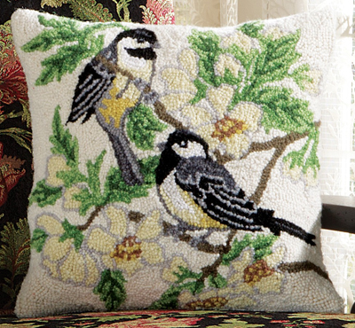 Two Chickadees Hooked Wool Pillow