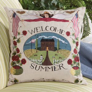 Welcome Summer Embroidered Pillow