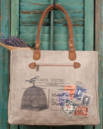 Birdcage Postcard Shopping Tote