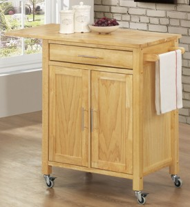 Drop Leaf Kitchen Cart in Natural